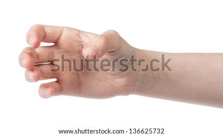 female teen hand to hold something cylinder like a bottle, isolated - stock photo