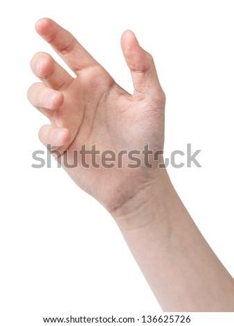 female teen hand to hold something like phone, isolated on white - stock photo