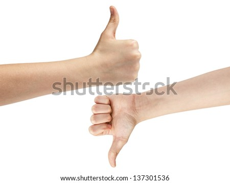 female teen hands like dislike symbol, isolated on white - stock photo