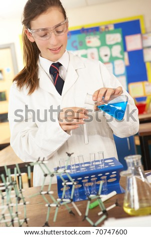 Female Teenage Student In Science Class With Experiment