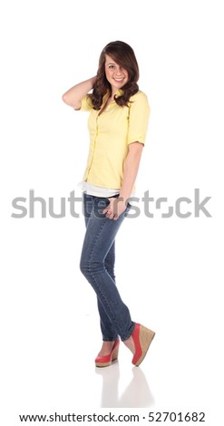 Female teenager on white background