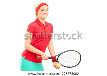 Female tennis player preparing to serve isolated on white background - stock photo