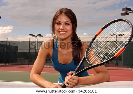 Female Tennis player ready for a match - stock photo
