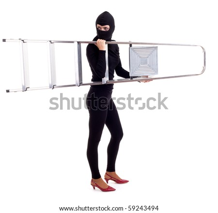 female thief in black balaclava keeping ladder, isolated - stock photo