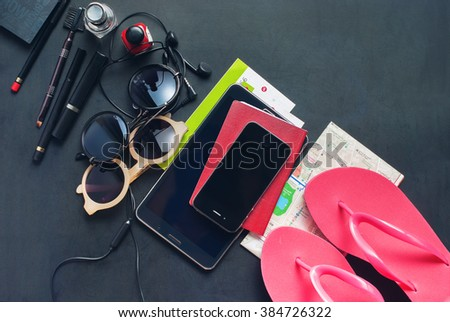 Female Things Clothes Accessories Gadgets Earphones Pink Stuff Packed Set for Trip Travel Holiday Concept Toned - stock photo