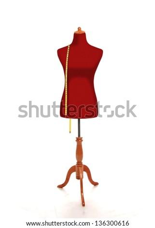 Female torso mannequin with measurement tape - stock photo