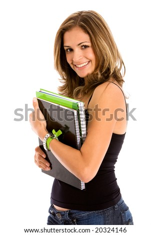 female university student isolated over a white background