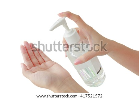 Female using hand press bottle and pouring alcohol-based sanitizer on other hands. Apply all path body. White background.