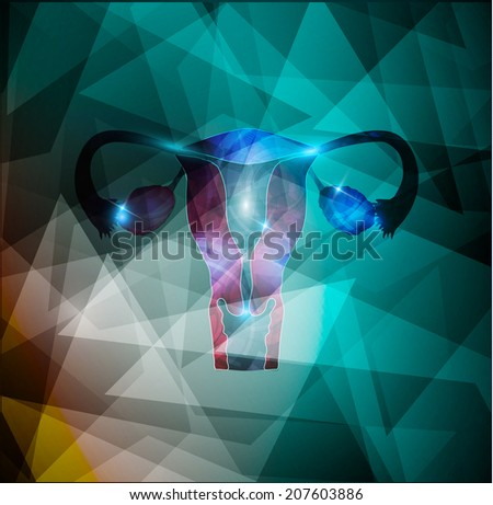 Female uterus and ovaries on a colorful geometric background, abstract medical illustration. - stock photo