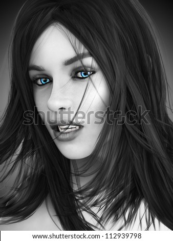Female vampire, black and white image with colored blue eyes. Photo realistic 3d model.