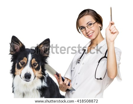 Female vet with a beautiful dog - stock photo
