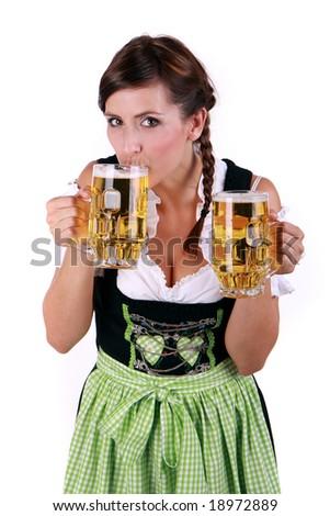 Female waitress tasting drinking beer - stock photo