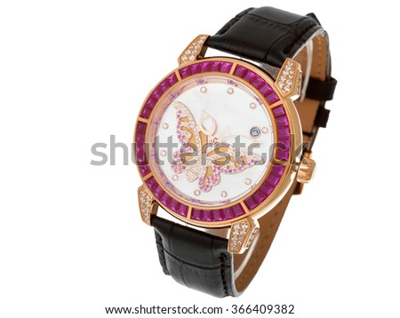 Female watch with black leather thong and the dial from gold and jewels, the dial with a butterfly from diamonds. The isolated image on a white background, nobody. - stock photo