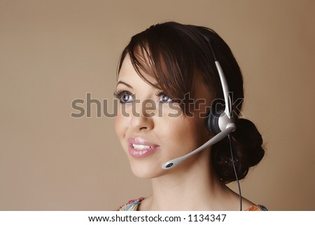 Female wearing a headset
