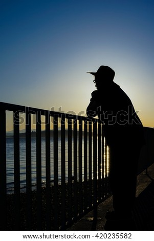 Female Wearing Hat At Beach In Thought Silhouette
