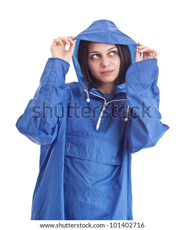 Female wearing raincoat, isolated on white - stock photo