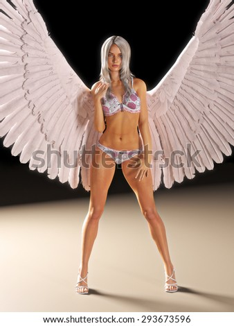 Female wearing sexy lingerie with white angel wings. Photo realistic 3d illustration. - stock photo