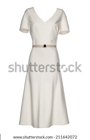 female white dress on a white background - stock photo
