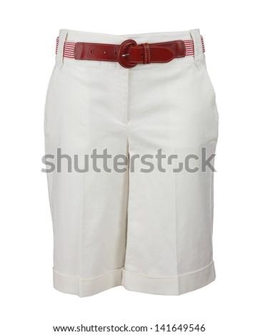 female white shorts isolated on white background - stock photo