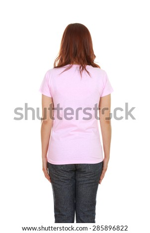 female with blank pink t-shirt (back side) isolated on white background