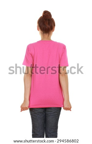 female with blank pink t-shirt (back side) isolated on white background - stock photo