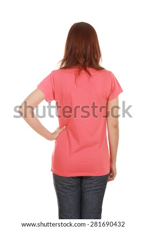 female with blank t-shirt (back side) isolated on white background