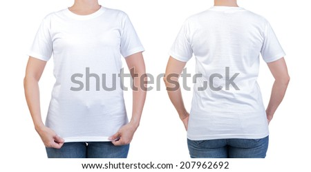 female with blank white shirt, front and back. Ready for your design or artwork