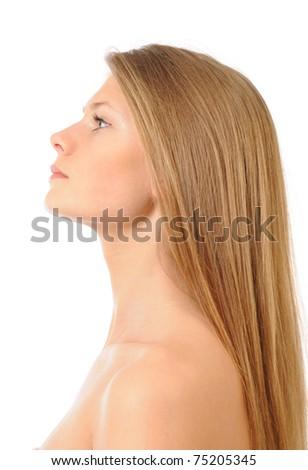 Female with long health beautiful hair - stock photo