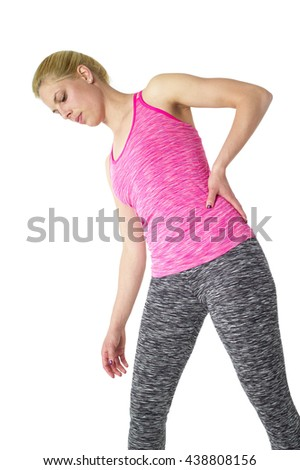 Female with pain back pain  - stock photo