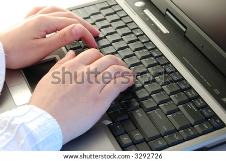 Female working in office - stock photo