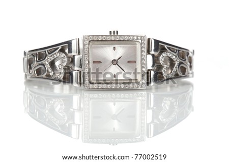 Female wrist watch with diamonds, isolated on white - stock photo