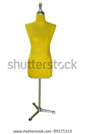 female yellow mannequin isolated on white - stock photo