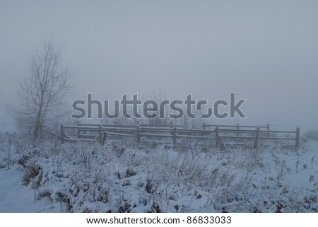 Fence for cattle in the winter and fog blocking the distant view. - stock photo