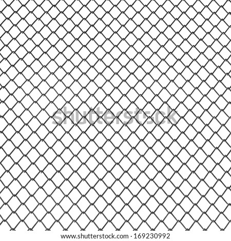 Fence from steel mesh isolated on white background - stock photo