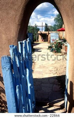 Fence in Santa Fe. - stock photo