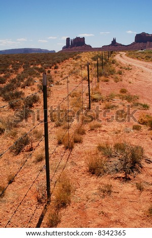 Fence outside Monument Valley - stock photo