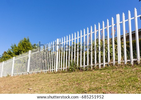 Fence Steel White Boundary Fence palisade steel white boundary structure.