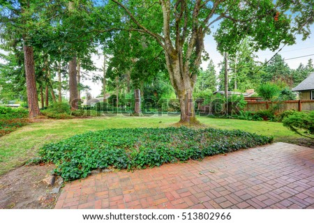 Fenced Backyard garden with red brick floor patio, trees and grass. Northwest, USA