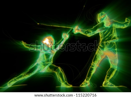 Fencing. Effects of fire and glow in fencing duel. (Drawing.)