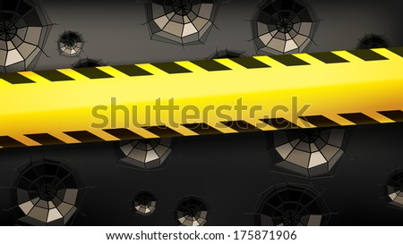 fencing tape broken glass - stock photo