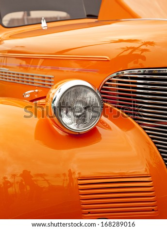Fender and headlamp on an Antique Car Making a Strong Graphical Design. - stock photo