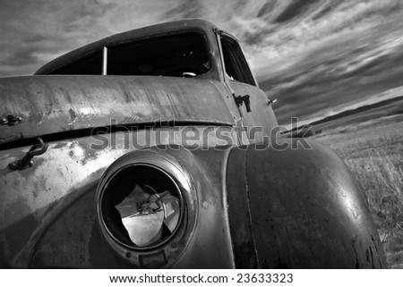 Fender of an old weathered truck - stock photo