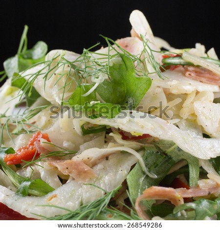 Fennel Salad. Shaved fennel, arugula, vella dry jack and cherry peppers - stock photo