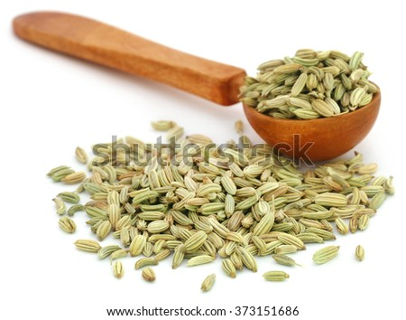 Fennel seeds in a wooden spoon over white background - stock photo