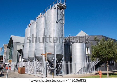 Fermentation vats at Little Creatures in Fremantle, Western Australia/FREMANTLE,WESTERN AUSTRALIA-JUNE 1,2016: Conical fermentation vats at Little Creatures Brewery in Fremantle,Western Australia.