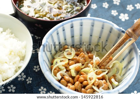 Fermented soybeans Natto,  boiled rice and miso soup - stock photo