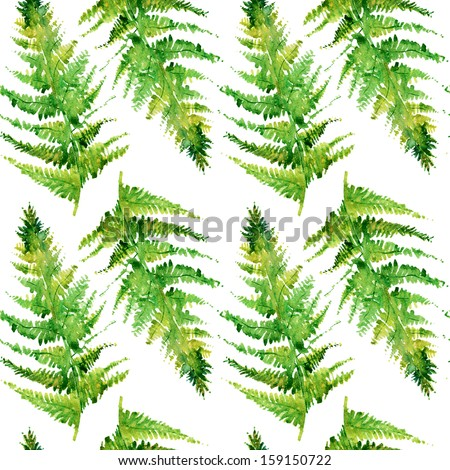 fern watercolor, seamless branches and leaves - stock photo