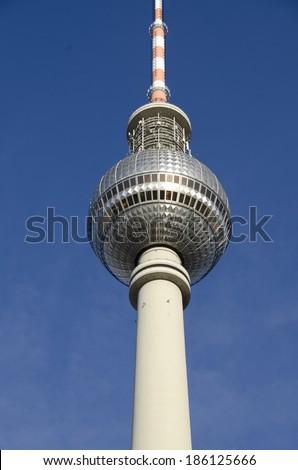 Fernsehturm Berlin. Berlin TV Tower. The TV Tower located on the Alexanderplatz in Berlin, Germany - stock photo