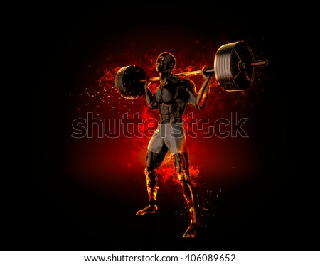 Ferocious bodybuilder with a barbell. 3d rendering. - stock photo