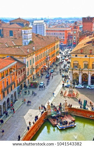 FERRARA, ITALY - FEBRUARY 11 -the historic center seen from the Este castle- February 11 2018 Ferrara Italy